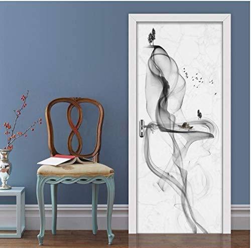 3D Türaufkleber Tapete Schwarz Weiß Abstrakt Rauch Wasserdicht Selbstklebende Tür Wandbild Abziehbilder Modernes Wohnzimmer Schlafzimmer