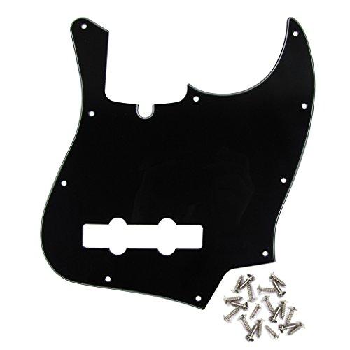 IKN - Golpeador de bajo de jazz de 10 orificios de montaje con muesca de varilla de armadura para guardabarros de EE. UU. Y MEX, reemplazo estándar de bajo de jazz de cuatro cuerdas, 3 capas negro