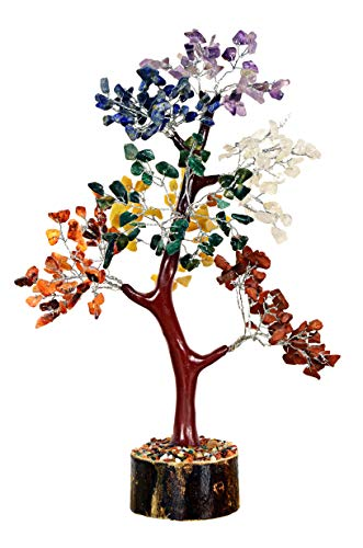 Opulence Natural Gemstone Bonsai Money Tree of Life Good Luck Wealth & Prosperity Spiritual Gift Crystal Reiki Healing Feng Shui Office Desk Decor LG-12 Inches 300 Stone Beads (7 Chakra Mseal Silver)