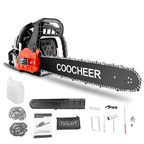 COOCHEER 20   Chainsaw 62CC 2-Stroke Gas Powered Chain Saws with 2 Chains, Tool Kit, Carring Bags for Cutting Trees, Wood