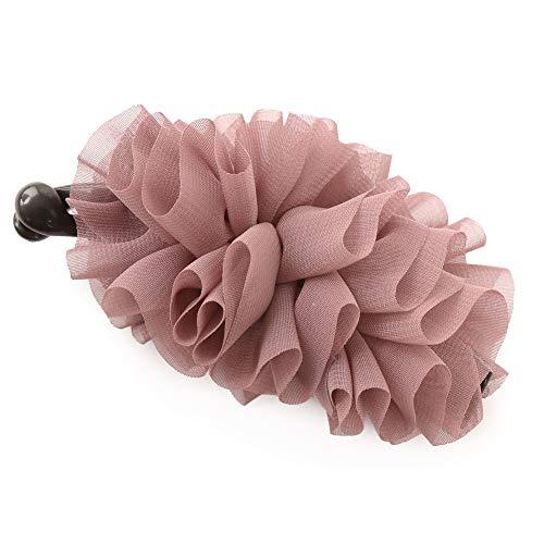 [ジュエルボックス] JewelVOX ヘアアクセサリー ドレープ シフォン バナナクリップ ヘアアクセサリー ヘアクリップ まとめ髪 BY-B9 ダークピンク