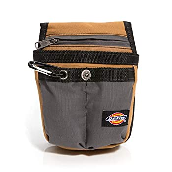 Dickies Zipper Pocket Canvas Pouch for Tool and Work Belts Four Pockets Cushioned Pocket Grey/Tan