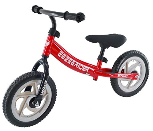 Eezee Rider Sport 12 inch Balance bike for toddlers and kids 2, 3, 4 & 5 year old. First training bikes without pedals. Learning bike for boys and girls (Red)