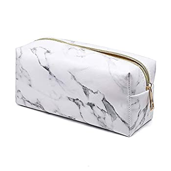 Marble Makeup Bag Travel Storage Cosmetic Bag Small Portable Pouch with Gold Zipper Pencil Case for Women Makeup Brush Bag  7.5 x3.5 x2.8