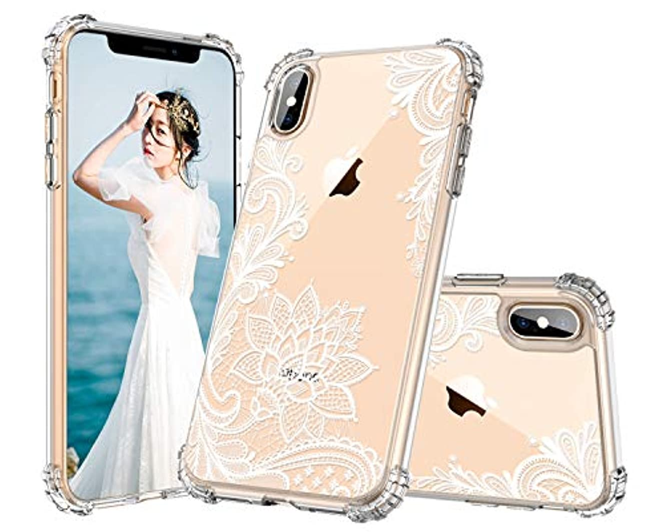 Lontect Compatible iPhone Xs Max Case Slim Bumper Cushion Clear Floral Soft Flexible TPU Frame + Hard PC Transparent Scratch Resistant Cover Case for Apple iPhone Xs Max 6.5 2018, White Lace Flower