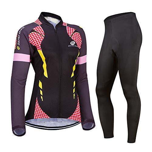 ZEROBIKE Donne Manica Manica Lunga Jersey Abbigliamento Set, Ciclismo Jersey Camicia + 3D Gel Imbottito Pantaloni Ciclismo Equitazione Bike Sportswear (0029, S)