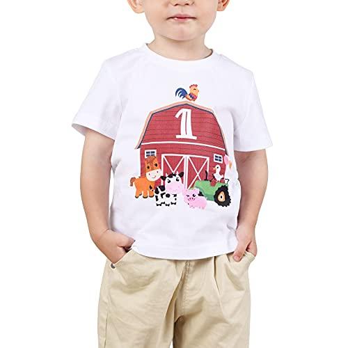 1 Año Camiseta Cumpleaños Bebé Niño 1er Cumpleaños Manga Corta Regalo (Blanco, 90)