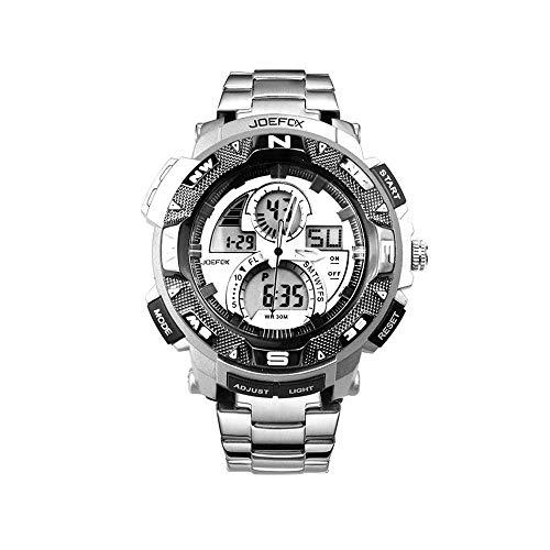 FQDQH Reloj, Reloj de Deportes al Aire Libre, Impermeable Doble Pantalla Luminosa multifunción, los Hombres de LED Reloj electrónico (Color : Silver)