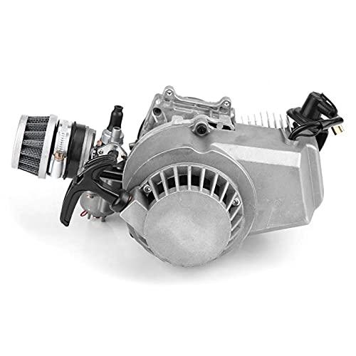 Motor de motor, aleación de aluminio, arranque por tracción, bolsillo del motor, motor de carrera de aceite mixto, apto para 47 cc, 49 cc, 2 tiempos, mini quad, scooter, piezas de atv