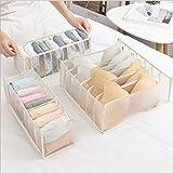 Viilich Organizador de cajones de ropa interior, cajas de almacenamiento de armario plegables, organizador de cajones para sujetadores, calcetines, corbatas, cinturones, (beige, 3 piezas / juego)