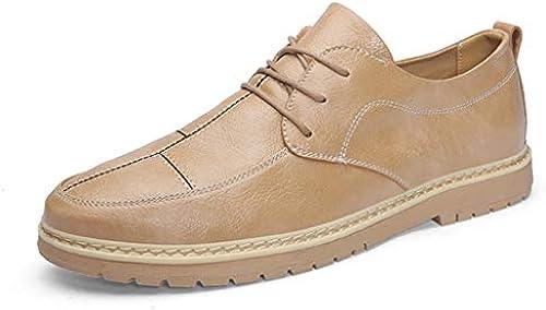 ChengxiO ChengxiO ChengxiO 2019 Neue Sommer Korean Trend braun Beanie Schuhe Herren Business Casual England Martin Lederschuhe Lederschuhe (Farbe   braun, Größe   42)  Mode