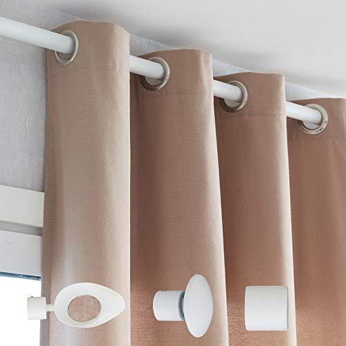 lemoinscherdeladeco Tringle à Rideaux Métal Couleur au Choix Noir ou Blanc Mat Ø 20 mm + 2 Supports Extensibles + 2 Embouts Champignon (Longueur Extensible de 1.85 m à 3.50 m, Blanc Mat)