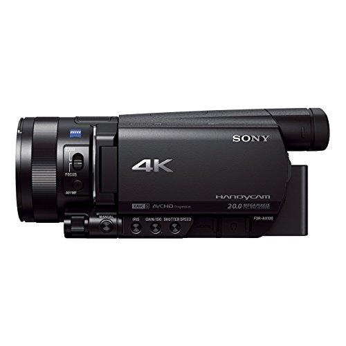 """Sony FDR-AX100 Videocamera 4K Ultra HD con Sensore CMOS Exmor R da 1"""", Ottica Grandangolare Zeiss 29.0 mm, Zoom Ottico 12x, Display LCD Xtra Fine, Nero"""