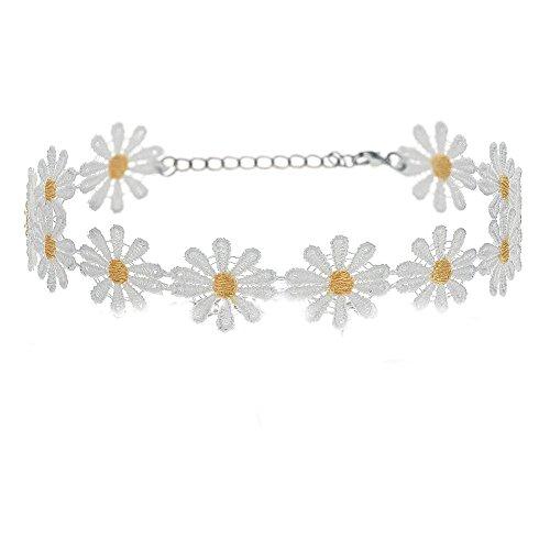 NEW Charm Daisy Flower Choker Chain Bib Collar Statement Lace Necklace Bracelet-White Daisy