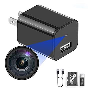Built-in 32G Micro SD Card Buloge Mini Spy Hidden Cameras,Full HD 1080P Video,Micro Nanny Cam,Tiny Secret Surveillance Camera,Small USB Charger Cameras,Spy Camera Equipment for Hotel/Home/Bathroom