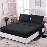 IKITOBI Sábana bajera ajustable profunda de tela suave transpirable para cama de dos piezas