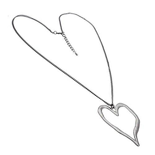 Collar con colgante de corazón de Wonky corazón de oro o plata con diseño de Lagenlook