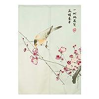SPXUBZ和風戸口カーテン水墨画花と鳥のれんロングドアカーテンタペストリー室内仕切り