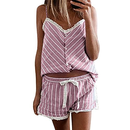 PRJN Conjuntos de Pijamas para Mujer, 2 Blusas y Pantalones sin Mangas, Ropa de Dormir para Damas, Ropa de Dormir, Pijamas, Conjuntos de Pijamas para Mujer, Conjuntos de Pijamas Largos