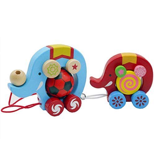 Woqook Brain Game Wood Creative Cartoon Double Elephant Wooden Push and Pull Toy Kids Early Development Toy- Colorful