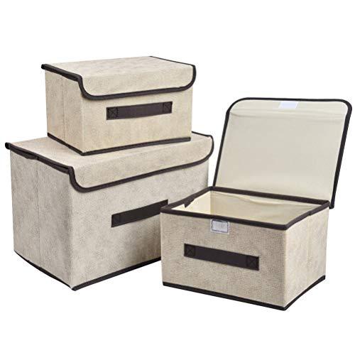 Paquete de 3 Cajas Almacenaje con Tapa y Asas,Caja Organizadora de Almacenamiento...