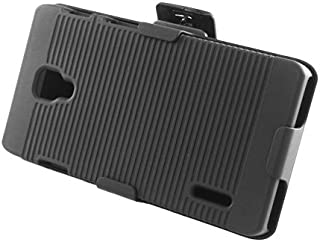 Eagle Cell Rubber Case with Stand and Holster for LG Optimus F7 - Retail Packaging - Black