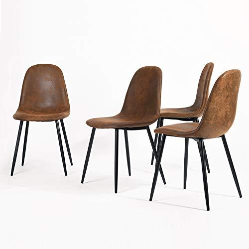 Homy Casa Dining Chairs Set de 4 sillas de comedor Scandinavian Suede Retro Vintage Brown