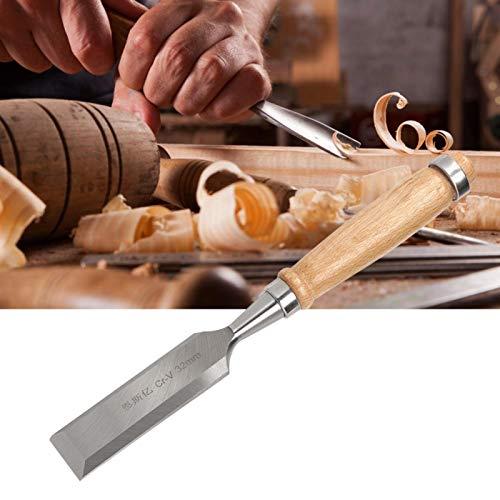 Jeanoko Industrielles Zubehör Chrom-Vanadium-legierter Stahl-Flachmeißel-Schneidwerkzeuge Einfaches Schneiden Cr-V 32-mm-Holzgriff für die Tischlerei