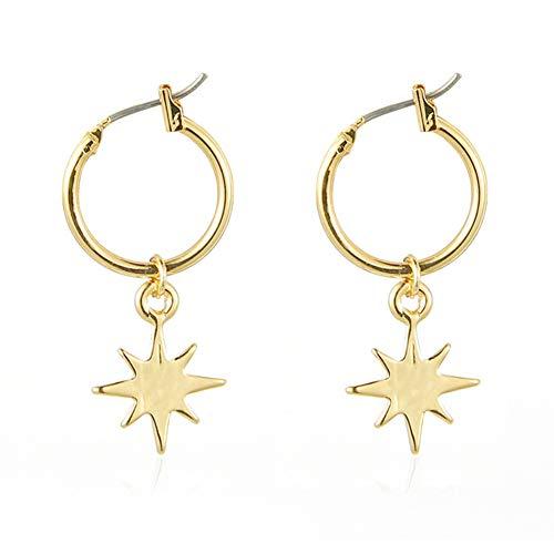 LLZZ Pendientes Colgantes de Estrella de Oro de Joyería 2PCS Pendientes Estrella Aretes con Forma de Estrella para el Oído Joyería y Accesorios