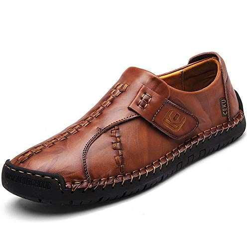 CEKU Men's Driving Causal Loafers Slip on Leather Handmade Flats Classic Comfortable Oxford Walking Shoes Brown 12 D(M) US/48