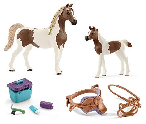 4in1-SET Schleich Pferde Horse Club - Araberpinto Stute mit Fohlen + Sattel Zaumzeug und Pflegeset 13838 + 13839 + 42165 + 42366