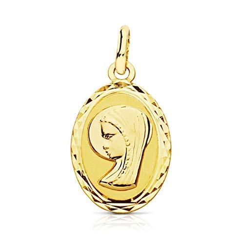 Medalla Oro 9K Virgen Niña 20mm. Lisa Forma Oval Borde Detalle Tallado - Personalizable - Grabación Incluida En El Precio