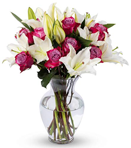 Benchmark Bouquets Lavender Roses and White Oriental Lilies, With Vase (Fresh Cut Flowers)