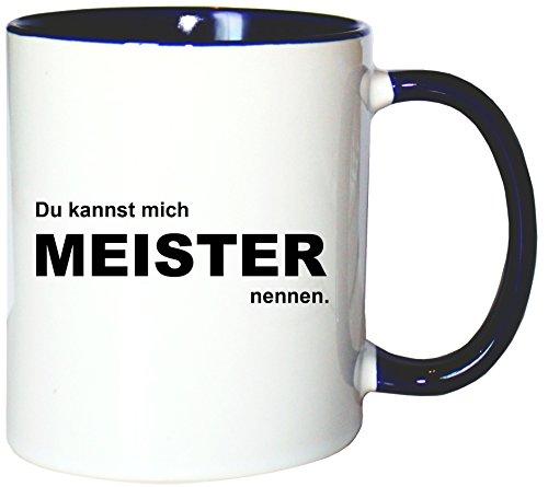 Mister Merchandise Kaffeetasse Becher Du Kannst Mich Meister nennen, Farbe: Weiß-Blau