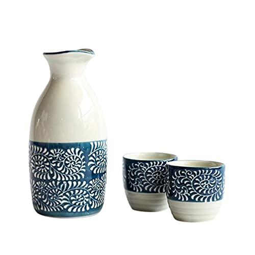 BaiJaC Taza de Sake Japonés, 200 ml Cerámica Sake Cup Set Japanese Steke Sake Beber Wine Tea Tea To Tea Restaurante Sirviendo Sake Verter Botella Holder
