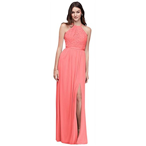 David's Bridal Lace Halter Bridesmaid Dress with Long Mesh Skirt Style F19608