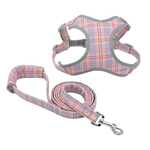 Jcheupet Dog Harness and Leash Set Reflective Puppy Dog Leash Chest Harness Vest Comfort Fit Adjustable for Small Medium Dogs Training Walking