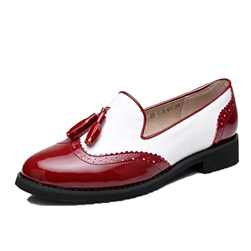 Zapatos Brogue de Mujer Moda Tallada Borla Bloque Color Costura Cuero Deslizamiento en Punta Redonda Zapatos Planos tamaño Grande 42 Mocasines Femeninos