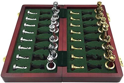 Staunton Juego de Tablero de ajedrez Juego de Tablero de ajedrez Metal Brillante Dorado y Plateado Piezas de ajedrez Tablero de ajedrez Plegable de Madera Maciza Juego de ajedrez Profesional Juego de