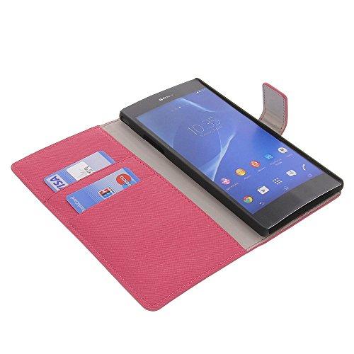 Tasche für Sony Xperia T2 Ultra Book Style Schutz Hülle Buch pink