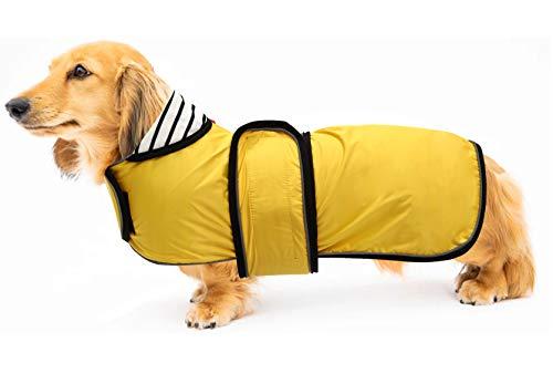 Hond Jas Verstelbare Lichtgewicht Dachshund Regenjas met Reflecterende Riemen en Harnas Gat Beste Gift voor Dachshund, L(Back Length:16-17IN), Geel