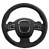 XQXSTORE Funda para volante de coche, de ante suave, cosida a mano, para Audi A3 8P Sportback A4 B8 Avant A8 D3 A6 C6 A5 8T Q5 8R Q7 4L S-Roscón