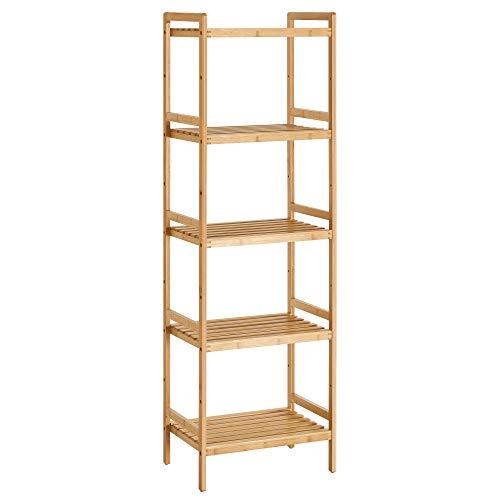 SONGMICS Estantería de bambú de 5 Niveles para baño, Cocina y Dormitorio, 45 x 31,5 x 142 cm, Natural BCB075N01