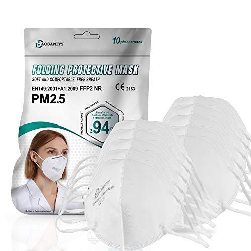 10X FFP2 Maske CE Zertifiziert Mundmaske Schutzmaske , Atemschutzmaske, GB2626-2006 / EN149: 2001 + A1: 2009 Mund-Naseschutz Gesichtsschutz Staubmaske