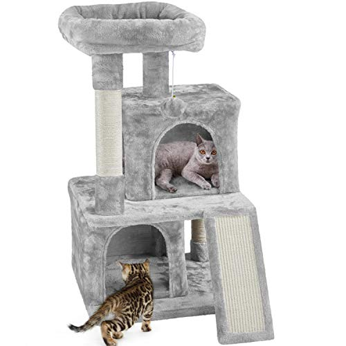 Yaheetech Cat Tree Cat Tower 36-inch Kitten Stand House Condo with Double Condos, Large Plush Perch & Scratching Board Kitty Furniture Play Center for Indoor Cats Activity