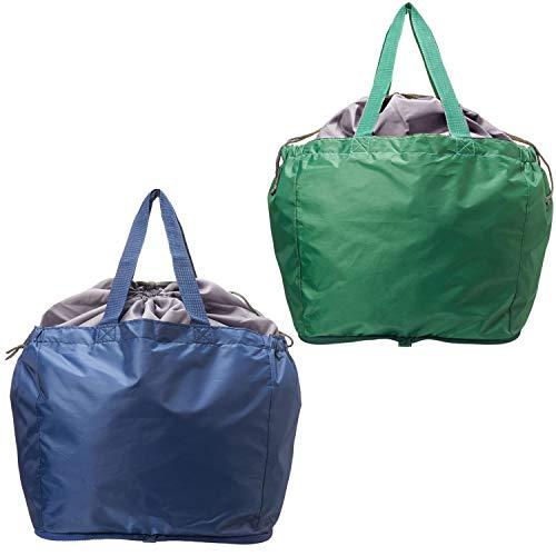 【AOTOBAG】 TVで 洗える レジカゴ マイバッグ 2個セット (紺・緑)