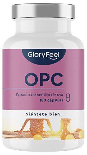 OPC Extracto de semilla de uva + Vitamina C - 1000mg OPC puro de uvas francesas originales por dosis diaria (2 cápsulas)- Producido en Alemania y probado en laboratorio- 180 cápsulas veganas
