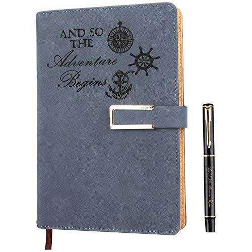 Refillable Adventure Writing Journal for Men & Women Faux Leather Hardcover Notebook A5 College Ruled 200 Lined Pages Lay-Flat Personal Diary with Pen & Magnetic Buckle (Adventure - Blue)