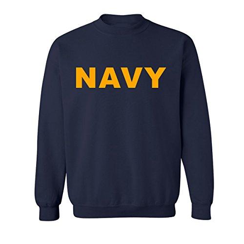 zerogravitee Navy Navy Crewneck Sweatshirt with Gold Print - Large