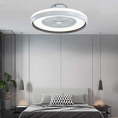 Fan Deckenventilator mit Beleuchtung,Moderne LED Licht, Einstellbare Windgeschwindigkeit, Dimmbar mit Fernbedienung, 60W Deckenlampe für Schlafzimmer Wohnzimmer Esszimmer (schwarz)